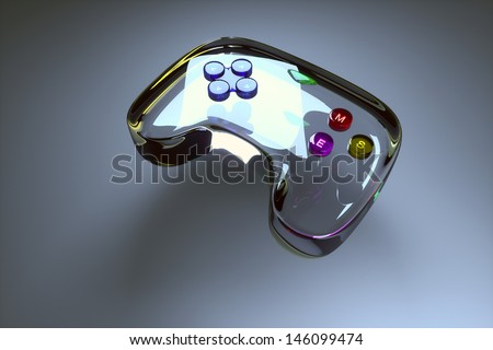 glass game joystick on a gray background - stock photo