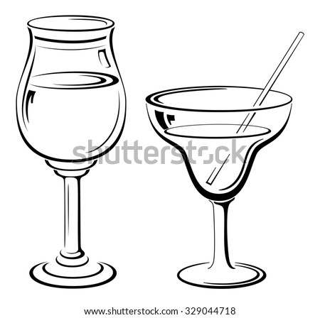 Glass Goblets with Drinks and Straw, Black Contour Pictograms Isolated on White Background.  - stock photo
