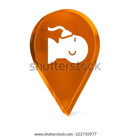 Glass GPS marker icon with white health care sign or symbol