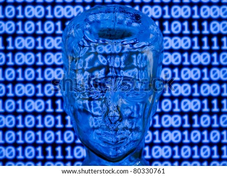Glass head in front of binary code