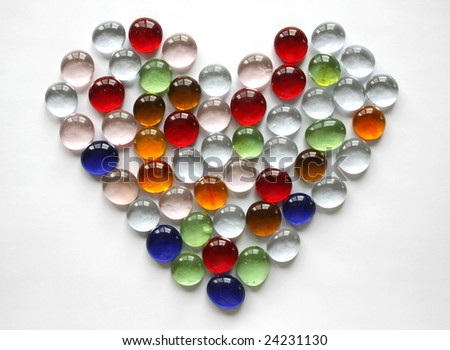 Glass Heart against the Light Background