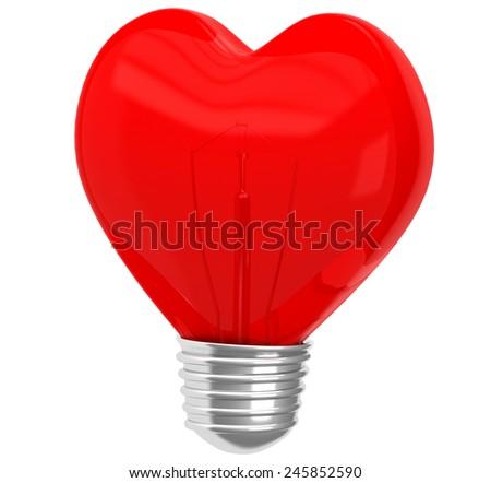 Glass heart shape lamp - stock photo