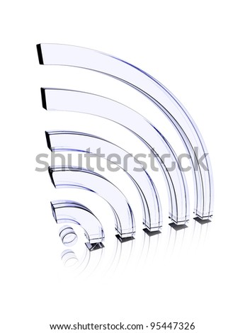 Glass icon sound or signal waves - stock photo
