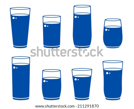 glass icons with beverage on white background - stock photo