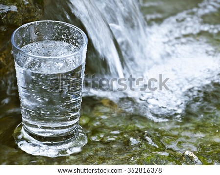 glass in falls - stock photo