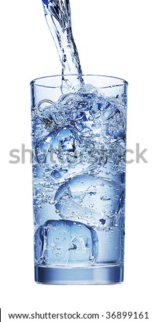 glass isolated with water and ice