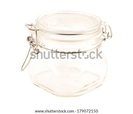 Glass jar isolated - stock photo