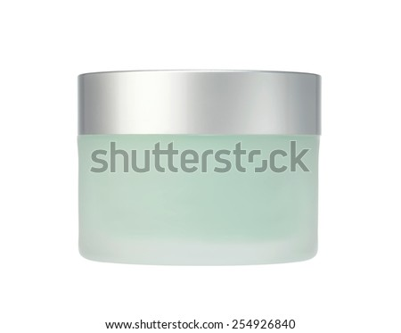 glass jar of face cream isolated on white - stock photo