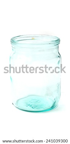 glass jar on a white background
