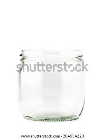 Glass jar on white background.