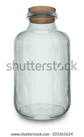 Glass Jar with cork - stock photo