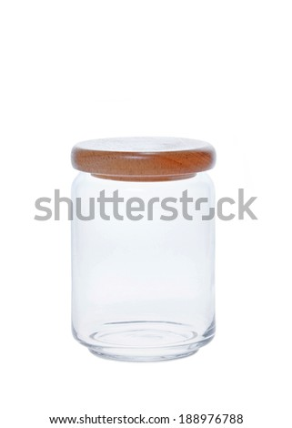 Glass jar with empty  on a white background. - stock photo