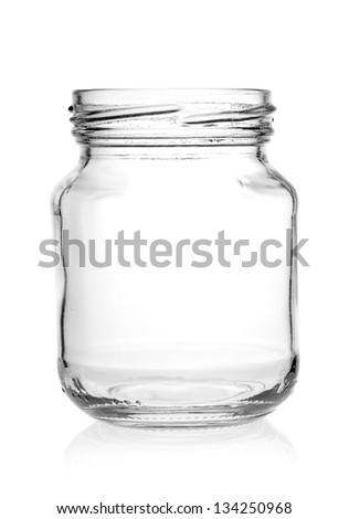 Glass jar with empty threaded on a white background. - stock photo