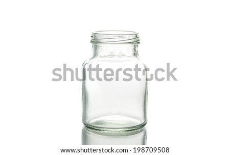 Glass jar with empty threaded on a white background.