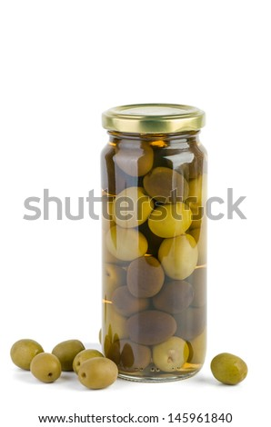 Glass jar with green and black olives.  Some near. Isolated on the white background - stock photo