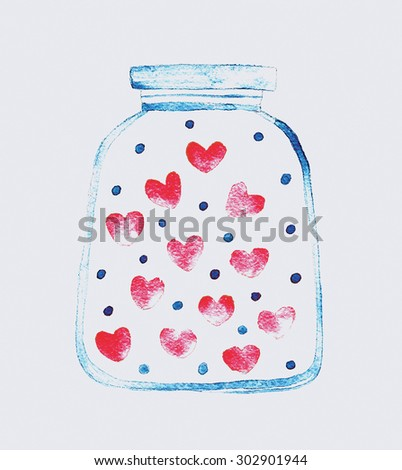 glass jar with hearts, hand made drawing