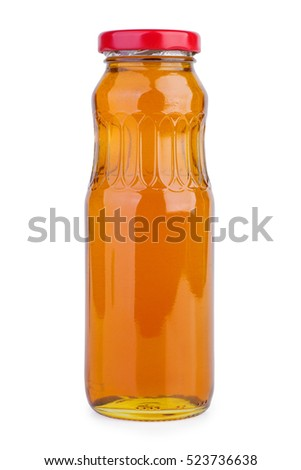 Glass jar with pear juice isolated on white background