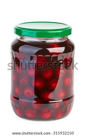 Glass jar with preserved cherries isolated on white background - stock photo