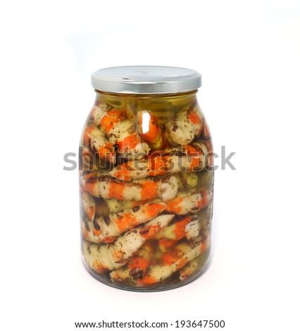 Glass jar with tinned shrimps isolatrd on white background - stock photo