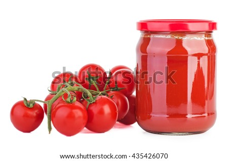 Glass jar with tomato paste and cherry tomatoes isolated on white background - stock photo