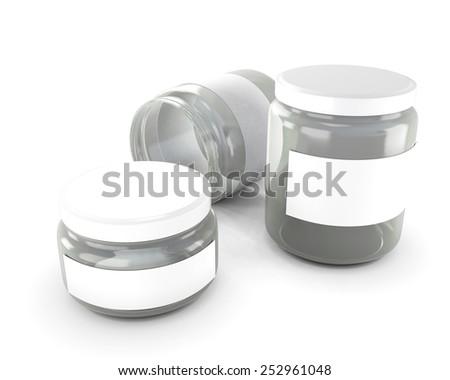 Glass jars of various sizes isolated on white background. 3d illustration. - stock photo