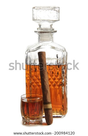 Glass jars with whiskey and cigar on white background - stock photo