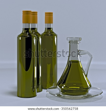 Glass jug and three bottle of olive oil.