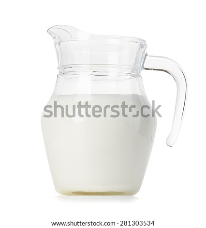Glass jug of fresh milk isolated on white background - stock photo