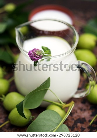 Glass Jug of the milk with pink clover