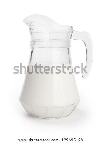 glass jugful of the milk - stock photo