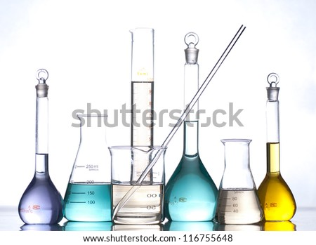 glass laboratory apparatus with color water