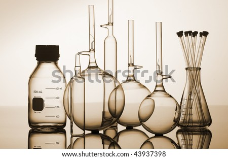 Glass laboratory flasks and beakers for science research