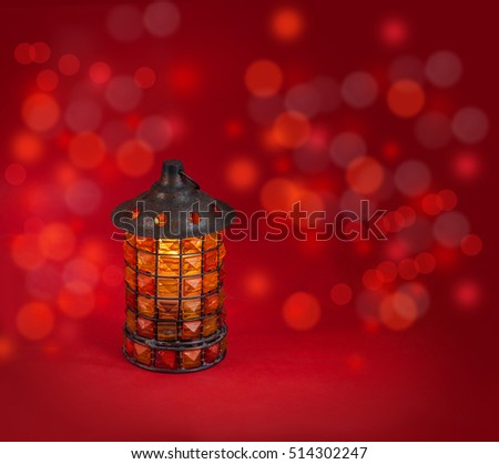 Glass lamp lights on a dark red background