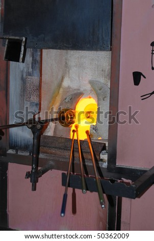 Glass manufacture, production of replica of mediaeval glass. Czech Republic, Svojkov