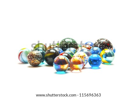 Glass marble balls isolated on white background