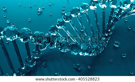 glass material dna geometry with small elements laying on the floor, abstract background