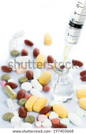 Glass Medicine Vial botox or flu with medical Syringe and pills isolated on white background - stock photo