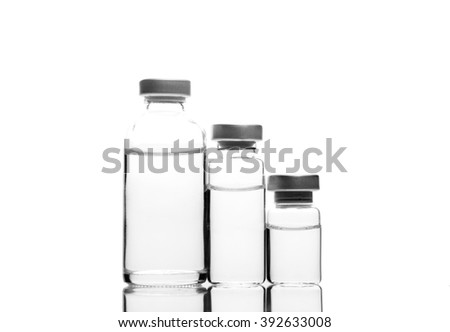 Glass Medicine Vials isolated on white background - stock photo