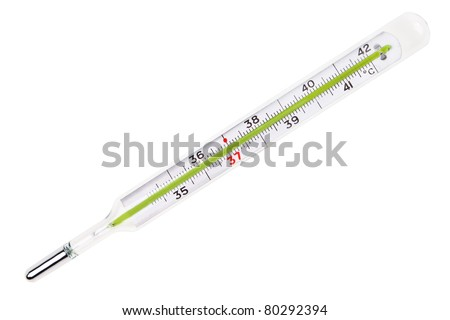 Glass mercury thermometer isolated over white background.