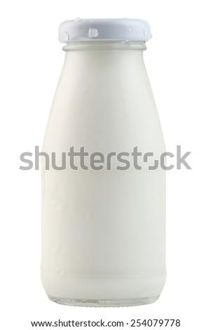 glass milk bottle - stock photo