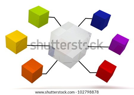 Glass Mirror and Color Organization Box Expand 3D render - stock photo
