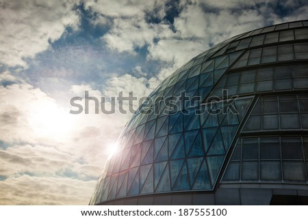 glass modern office building in Central London at dawn - stock photo
