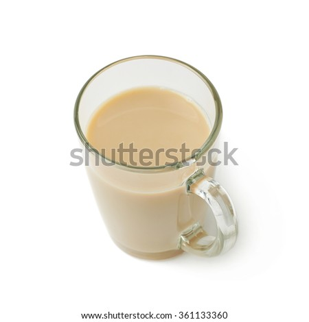 Glass mug filled with coffee milk