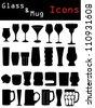 Glass & mug icons - stock photo