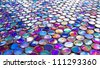 Glass nacreous round glossy mosaic tile pattern - stock photo