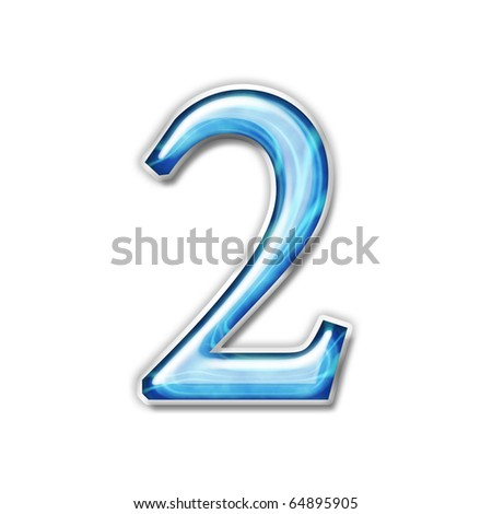 Glass number, relief and light on a white background