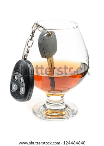 glass of alcohol and car keys. Photo isolated on white background - stock photo