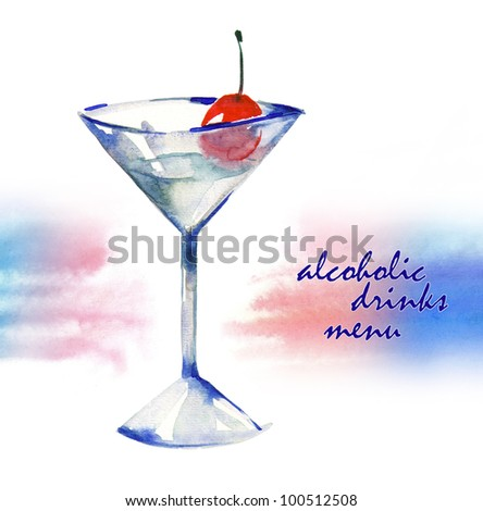 Glass of Alcoholic Drink - stock photo