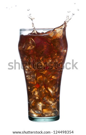 Glass of an iced cold drink with splashing drops
