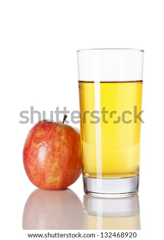 Glass of apple juice and apple isolated on white background